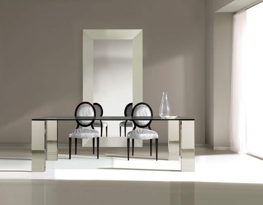 Despachos con dise o mesa de cristal templado y pies de - Mesas de comedor de cristal y acero ...