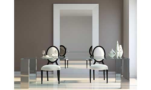 Comedores de diseño - Mesa de cristal templado y pies de acero pulido