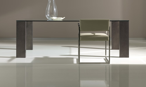 Comedores de diseño - Mesa Comedor sobre cristal templ, pies roble ...