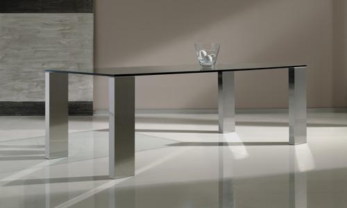Comedores de dise o mesa de cristal y acero colecci n - Mesa comedor cristal y acero ...