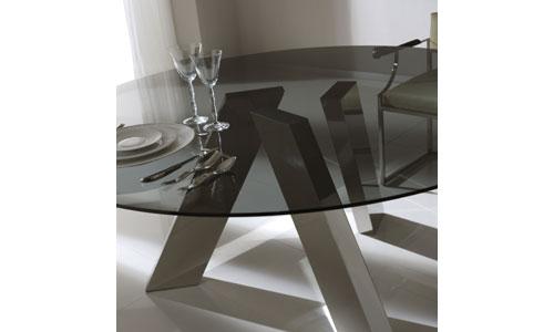 Comedores de dise o mesa cristal y pies acero colecci n - Mesas de cristal de diseno ...