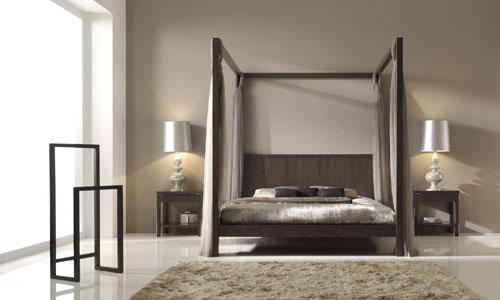 Dormitorios con personalidad cama dosel en nogal espa ol - Galan de noche moderno ...