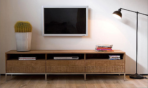 Salones de dise o mueble de tv en teca natural artespa a for Muebles para tv contemporaneos