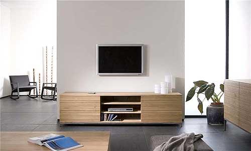 salones de diseño - mueble tv en roble natural, estantes y puertas - Muebles Tv Diseno