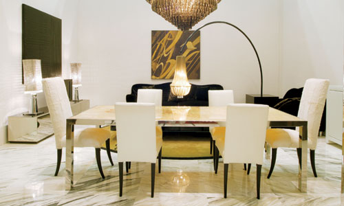 Comedores de dise o mesa de comedor cromada con marmol - Mesas de marmol de comedor ...