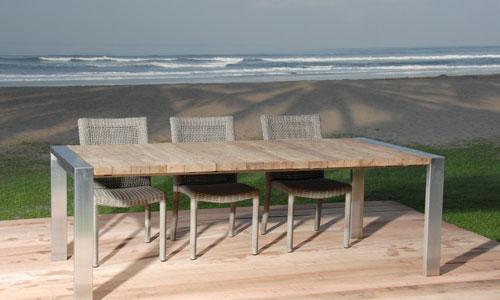 mobiliario para exterior mesa madera y acero inox